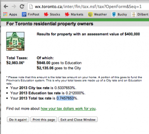 Toronto  Property Tax Calculator